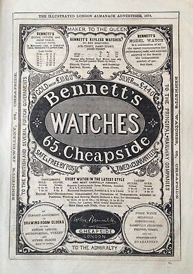 "1873 Ad(1800-24)~Bennett's Cheapside, London. ""maker To The Queen"" Watches"