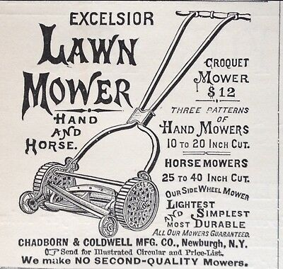 1880 Ad (1800-24)~Chadborn & Coldwell Co. Newburgh, Ny. Hand And Horse Mower