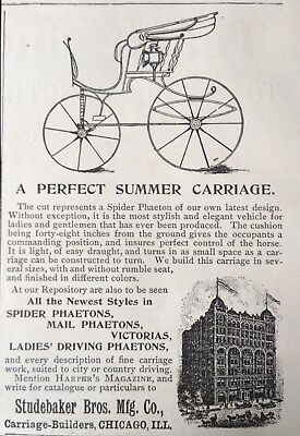 1892 Ad (1800-25)~Studebaker Bros. Mfg. Co. Spider Phaeton Summer Carriage