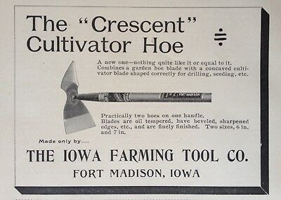 "1895 Ad(30)~Iowa Farming Tool Co. Fort Madison, Iowa. ""crescent"" Hoe"