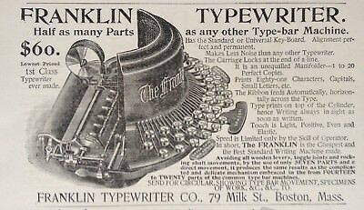 1893 Ad (1800-26)~The Franklin Typewriter Co. Milk St. Boston. Mass.