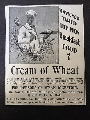 Antique 1896 Ad (1800-9)~North Dakota Milling Co. Cream Of Wheat Breakfast Food