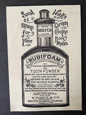 Antique 1888 Ad (1800-10)~Rubifoam Tooth Powder. By Hoyt & Co. Lowell, Mass.