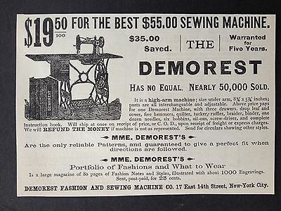 Antique 1886 Ad (1800-4)~Demorest Sewing Machine Nyc.