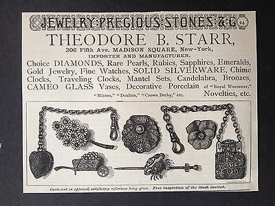 Antique 1886 Ad (1800-4)~Theo. B. Starr Madison Ave. Ny. Jewelery Importers