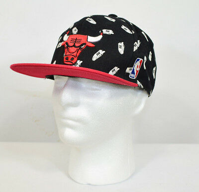 0b28438dad0 Adidas Chicago Bulls NBA Black All Over Print Festival Baseball Cap One Size