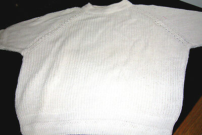 Vintage French Navy- Large 14-16 White Sweater