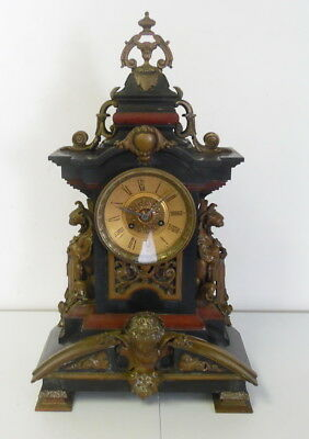 Huge Antique French Gothic Victorian Griffin Slate & Metal 8 Day Mantle Clock