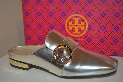 7f2b34f4020b NEW  358 Tory Burch SIDNEY Backless Flat Loafer Shoe Spark Gold Leather  Logo S 8