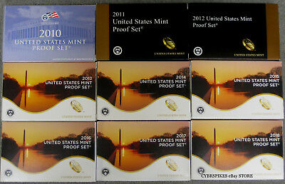 2010 thru 2017 2018 Run of 9 Government Issued Proof Sets with Boxes and COAs