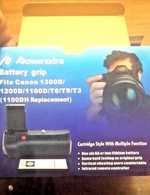 Powerextra Battery Grip For Canon 1100D 1200D 1300D Rebel T3 T5 T6 W remote