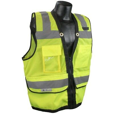 Radians Class 2 Heavy Duty Surveyor Safety Vest with Pockets, Yellow/Lime