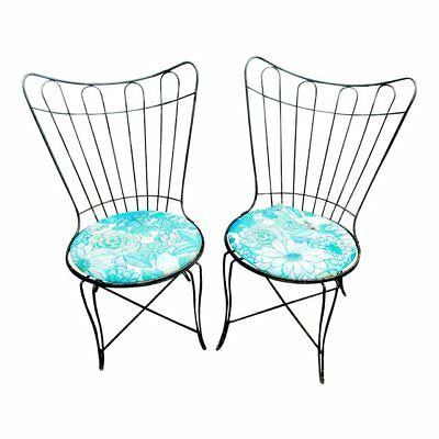 Pair Vintage Homecrest/Salterini Black Wrought Iron Patio Chairs w Floral Seats