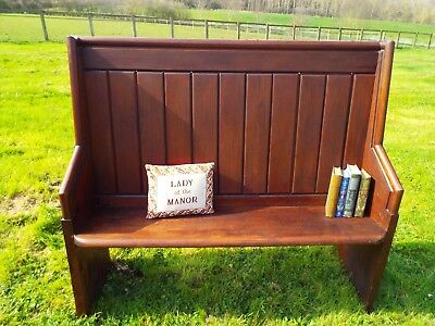 Antique Victorian Pitch Pine High Back Church Pew Bench