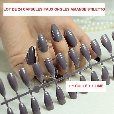 Lot 24 Capsules Tips Faux Ongle Amande Gel Uv Vernis Colle Lime French Ong100