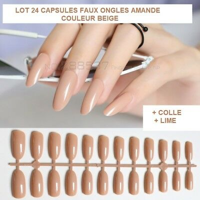 Lot 24 Capsules Tips Faux Ongle Amande Beige Gel Uv Vernis Colle Lime Ong099
