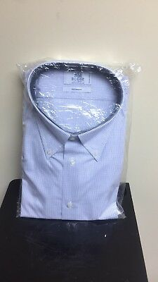NWT Boggi Milano Mens Dress Shirt Sz 19 Fine checkered Tailored Fit Italian made