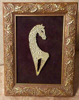 Gold Horse Brooch-Glitter Gold Texture-Gold Leaf Framed Table Art-Home Accent