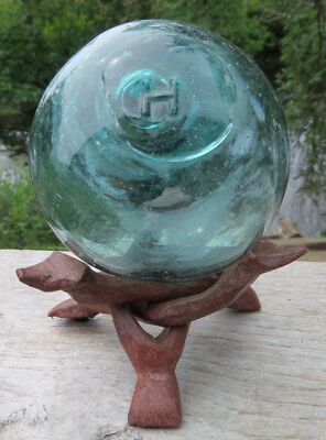 "JAPANESE Blown GLASS Fishing FLOAT 3"" WP Mark 36  Blue-Green Aqua Vintage +STAND"