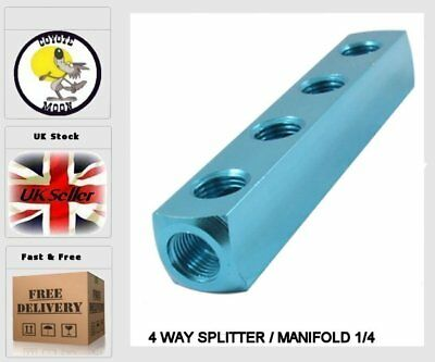 4 WAY SPLITTER / MANIFOLD 1/4 pneumatic, compressor, Air line UK SELLER