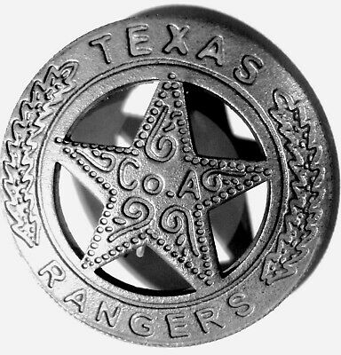 Texas Rangers Company A Badge Safty Soldered Pin Mexican Peso Back