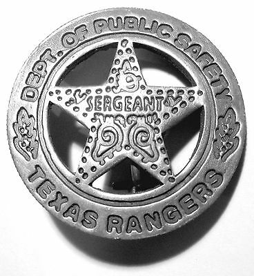 Texas Rangers SERGEANT Badge Dept Public Works Safty Soldered Pin Peso Back