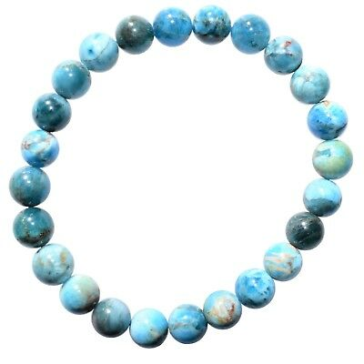 Premium CHARGED Natural Blue Green Apatite Crystal 8mm Bead Stretchy Bracelet