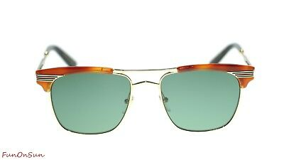e0d8610f62 Gucci Men Sunglasses GG0287S 004 Havana Gold Green Lens Square 52mm  Authentic