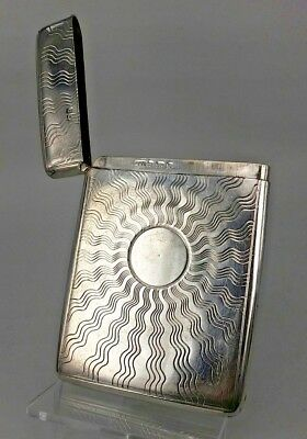 1904 Edwardian solid silver card case with unusual sun designs