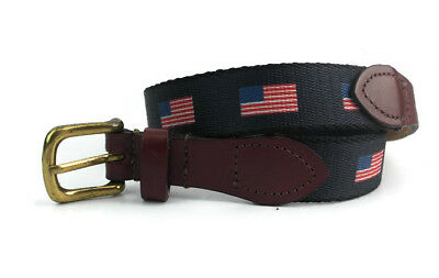 Unknown Brand Boy's Youth Navy Blue/Brown Textile/Leather American Flag Belt