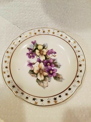 Vintage Shafford Hand Painted 5 1/2 Purple Lillies Japan Plate