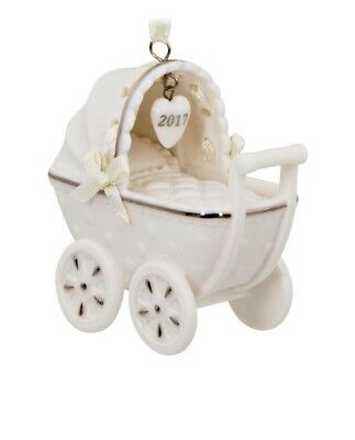 """Hallmark """"BABY'S FIRST CHRISTMAS"""" Carriage~Buggy~Porcelain~1st Ornament~2017~MIB"""