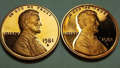 1981-S Proof Lincoln Cent Type 1 & Type 2 Deep Cameo 2 Coin Set Uncirculated