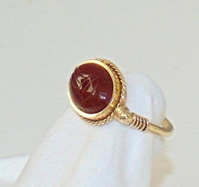 XLNT Estate Solid 14K Y Gold Museum Repro Egyptian Carnelian Scarab Ring 6 gr