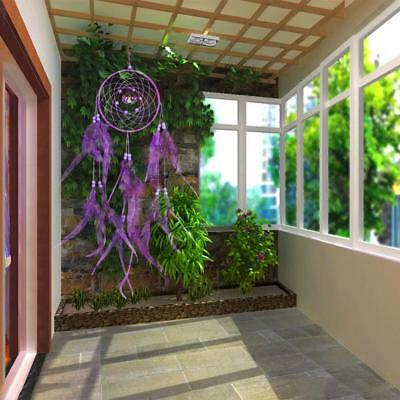 Dream Catcher Purple Wall Hanging With feathers Decoration Decor Bead Ornament