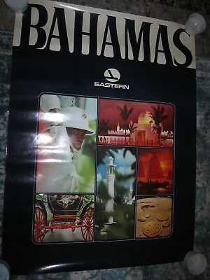 """Vtg Eastern Airlines travel destination poster for The Bahamas, 29 3/4"""" x 40"""""""