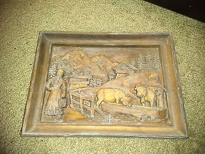 Vintage Wall Plaque Wooden Carved LADY MILKS COWS Made in France?