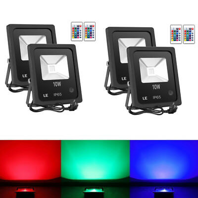 4X Remote Control 10W RGB LED Flood Lights with 16 Colors & 4 Modes Waterproof