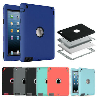 For iPad 2 3 4 Defender Cases Hybrid Three Layer Tough Shockproof Tablet Cover