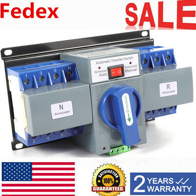 63A 4P Dual Power Mini Automatic Transfer Switches Change-over Switch ATS 110V