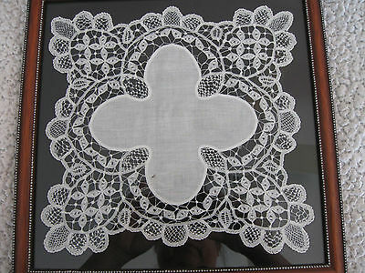 Antique piece of Battenburg lace doily professionally framed and matted