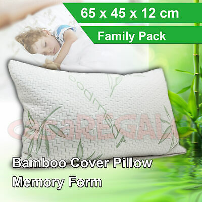 1pc Luxury Bamboo Pillow Anti Bacterial Memory Foam Fabric Cover 65x45x12cm