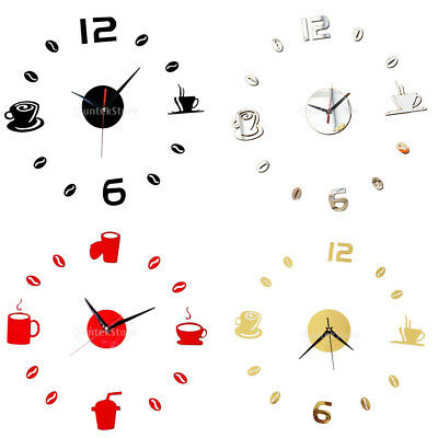 Creative Acrylic 3D DIY Coffee Cup Sticker Home Room Decor Mute Wall Clock