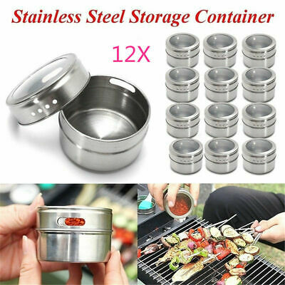 1/6/12X Magnetic Spice Tin Stainless Steel Storage Container Jar Clear Lid Set D