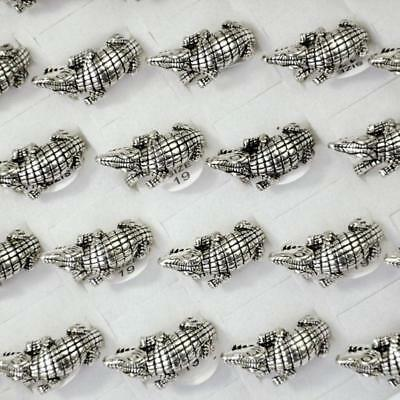 50Pcs Crocodile Alloy Ancient Silver Plated Rings Wholesale hotsale Jewelry DFP
