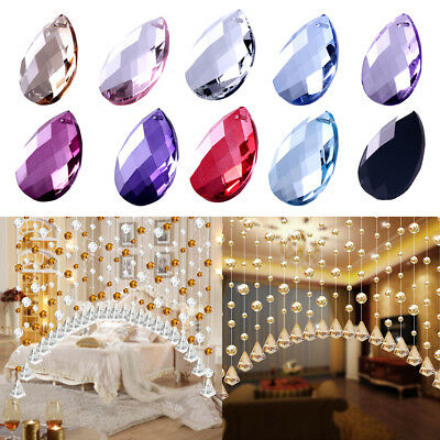 5Pcs Bling Hanging Crystal Water Drop Beads Pendant Beaded Window Curtains