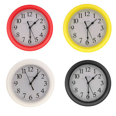 Wall Clock, Quartz Battery Operated 9inch Round Home/Office/School Clock 4 Color