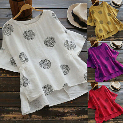 UK Womens Summer Short Sleeve T Shirts Blouse Ladies Tunic Loose Tops Plus Size