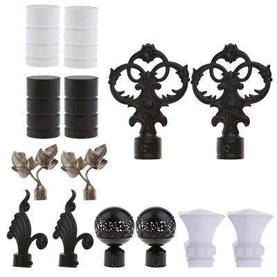 Various Curtain Pole Finials Window Panel Rod Decorative Ends Heads - 1 Pair