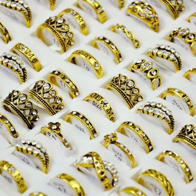 50Pcs Vintage Mixed Pattern Ancient Golden plated Women's Rings Lots Jewelry BFP